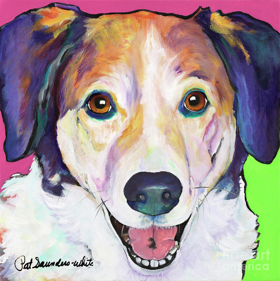 Smiling Dog Painting - Murphy by Pat Saunders-White