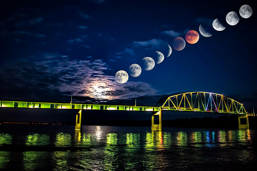 Astronomy Photograph - Muscatine Bridge Lunar Eclipse 9-27-15 by Paul Brooks