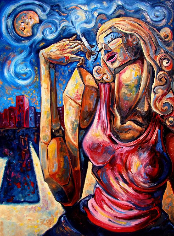 Surrealism Painting - Muse of the long neck in the night city by Darwin Leon