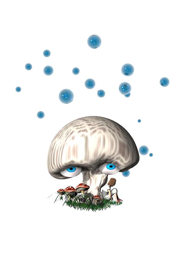 Blue Digital Art - Mushroom Dreams by Carol and Mike Werner