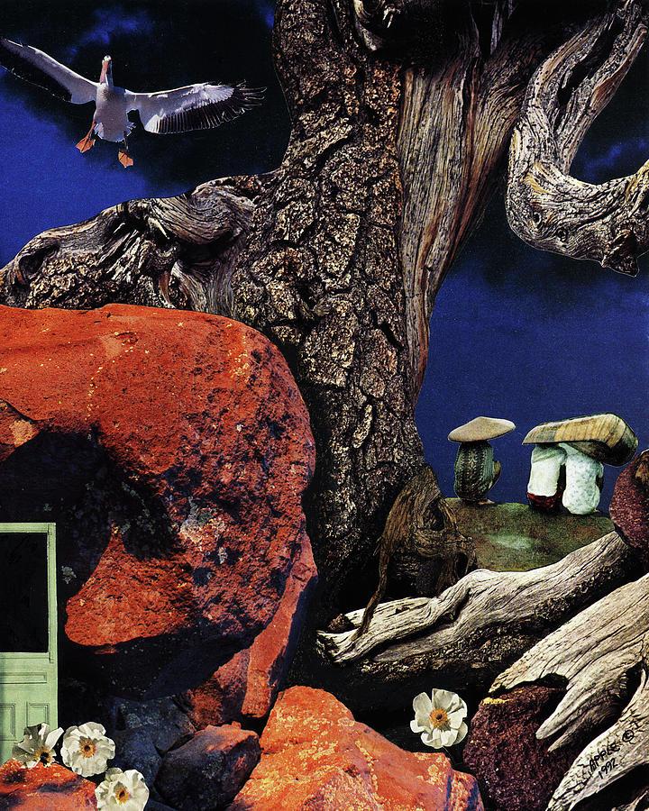 Fantasy Painting - Mushroom People - collage by Linda Apple