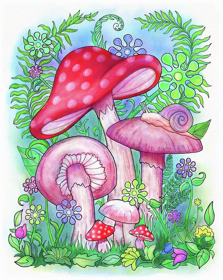 Mushrooms Drawing - Mushroom Wonderland by Jennifer Allison