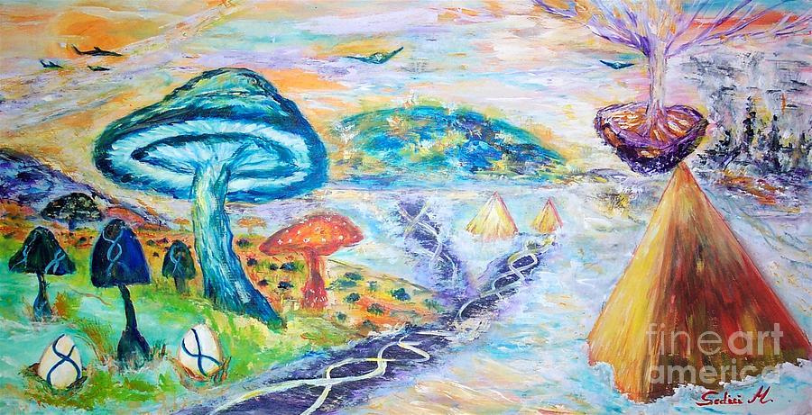 Mary Sedici Painting - Mushrooming  by Mary Sedici