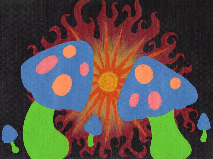 Mushrooms Painting - Mushrooms And Fire by Jill Christensen