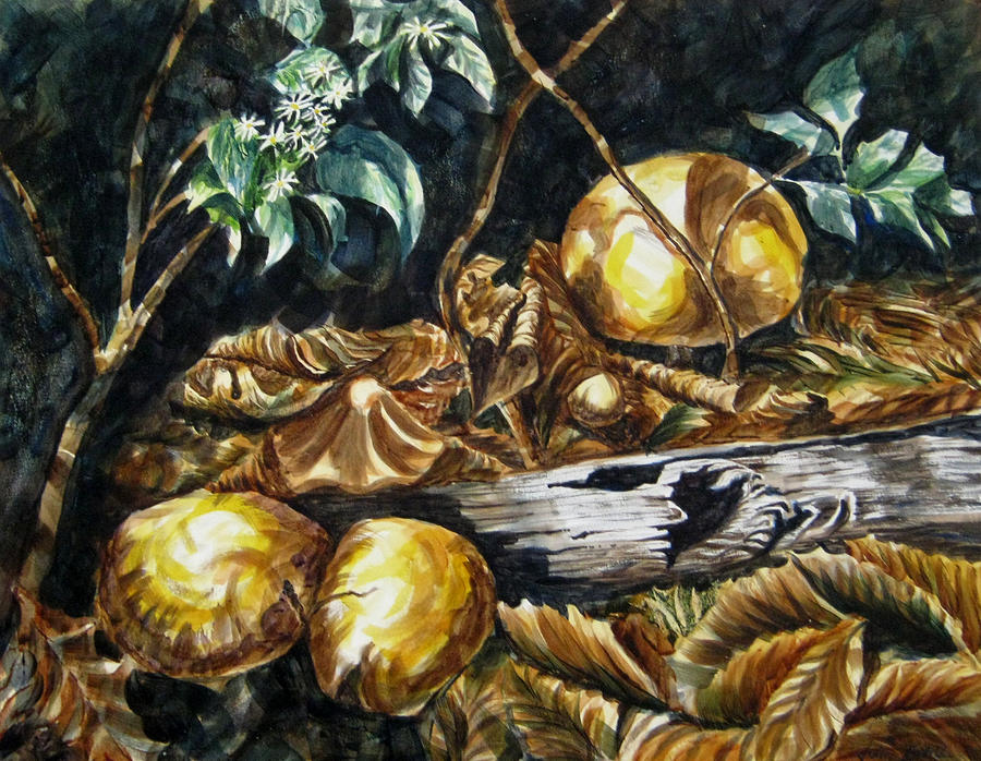 Mushrooms Painting - Mushrooms by John Entrekin