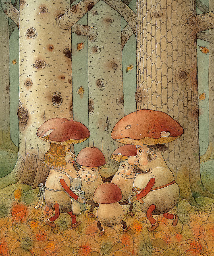 Mushrooms Painting by Kestutis Kasparavicius