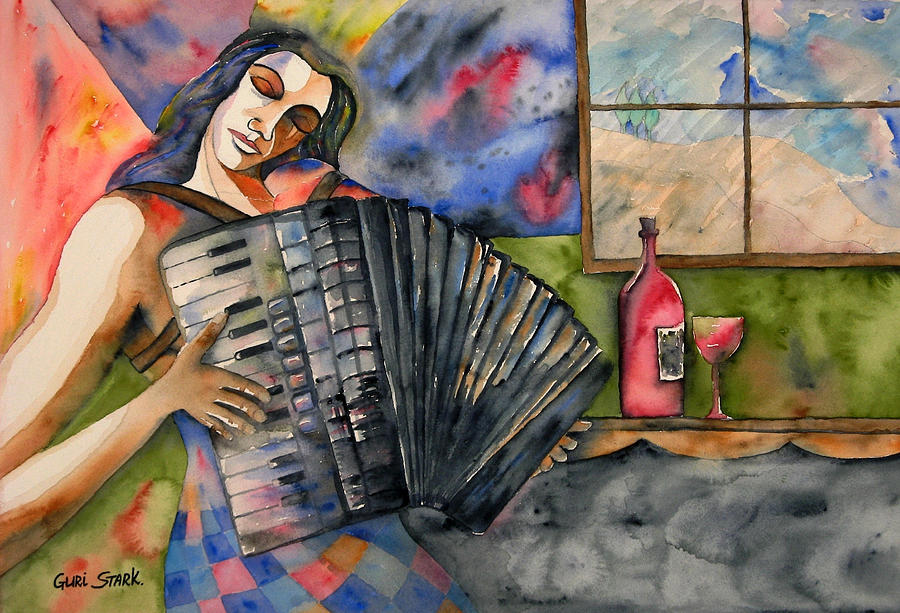 Music Painting - Music And Wine by Guri Stark