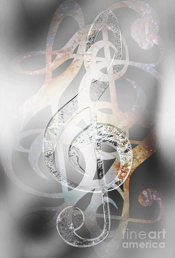 Music Clef In Space With Stars  Abstract Color Background  Music Concept   Glass And Metal Effect