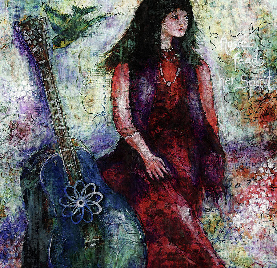 Female Singer Digital Art - Music Feeds Her Spirit Too by Claire Bull
