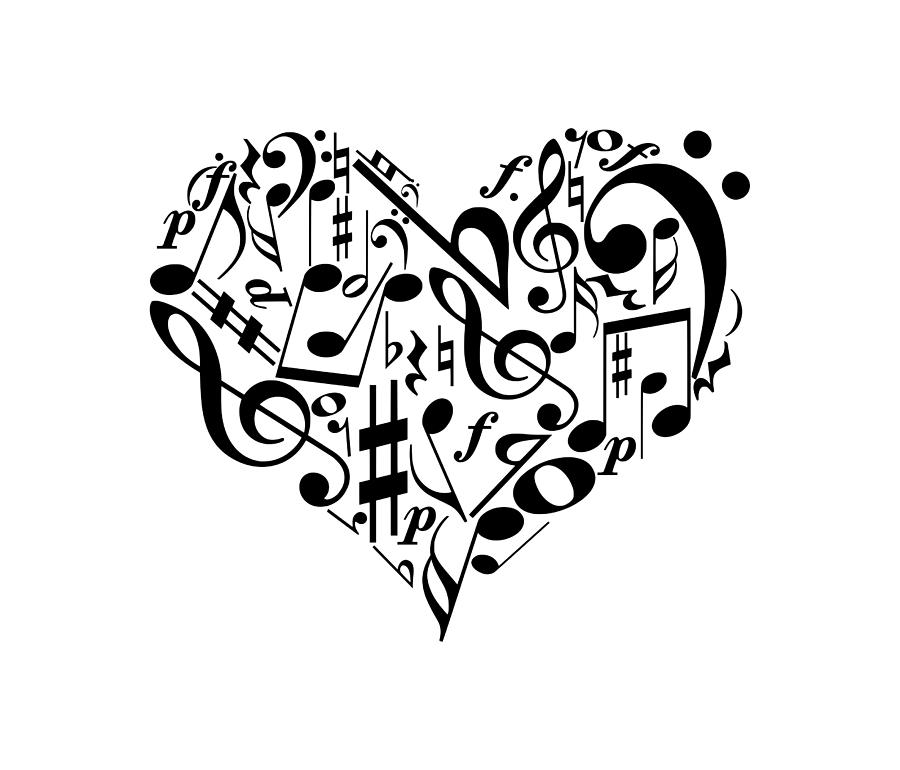 Music Heart Digital Art by Ummuhan Uslu