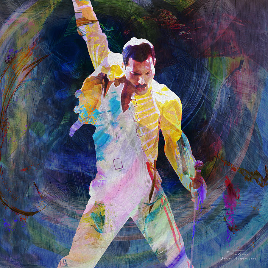 music icons freddy mercury i painting by joost hogervorst