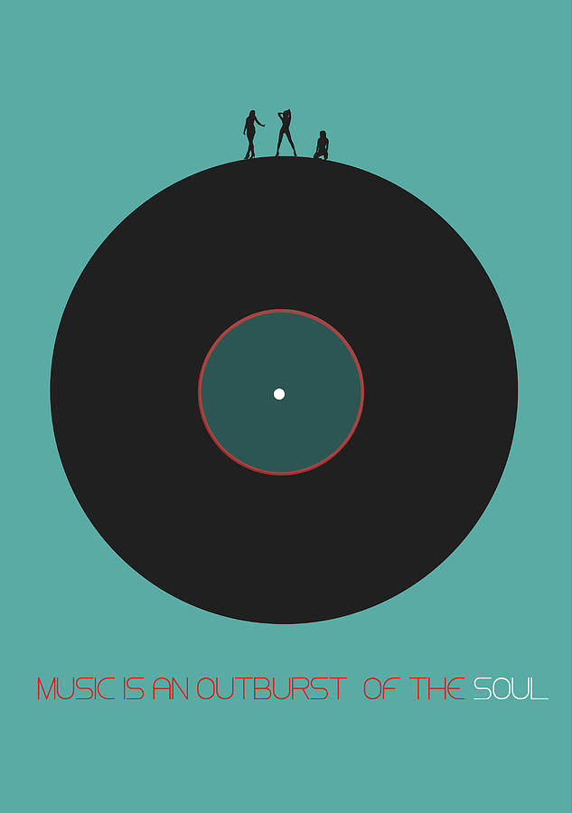 Vinyl Digital Art - Music is an outburst of the soul Poster by Naxart Studio