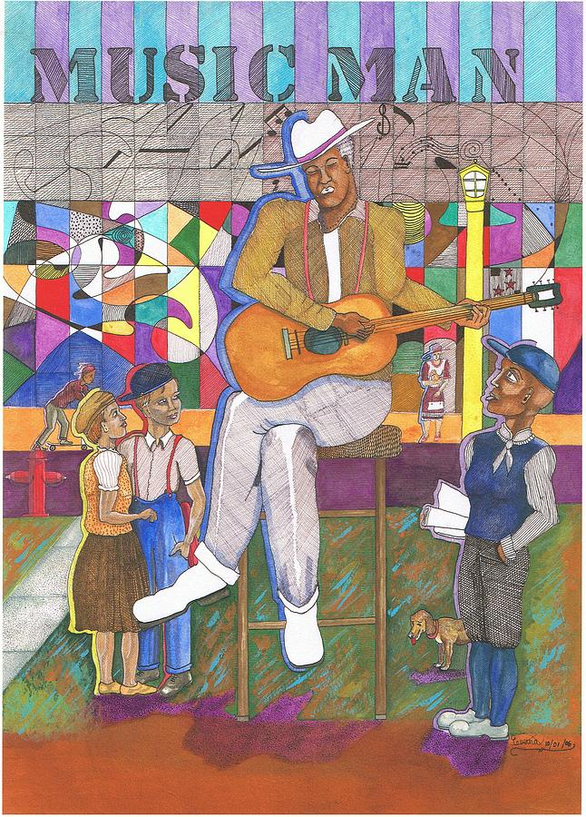 Guitar Player Painting - Music Man by Everna Taylor