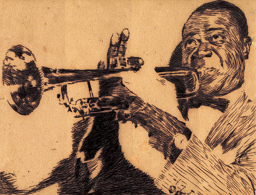 Pen Drawing - Music Man by Robbi  Musser