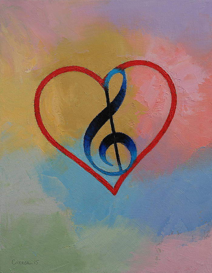 Clef Painting - Music Note by Michael Creese