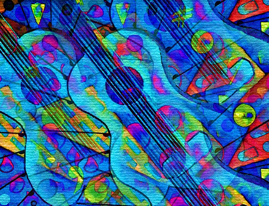 Musical Energy In The Universe-abstract Blue Guitar Pastel
