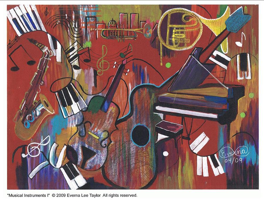 Musical Instruments Painting - Musical Instruments 1 by Everna Taylor