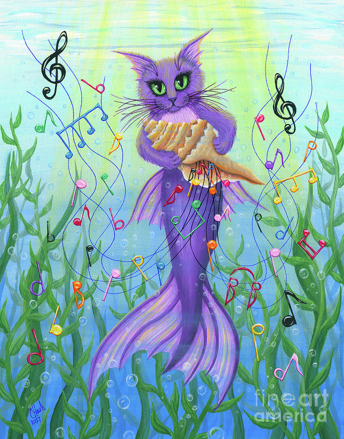 Musical Mercat - Purple Mermaid Cat by Carrie Hawks