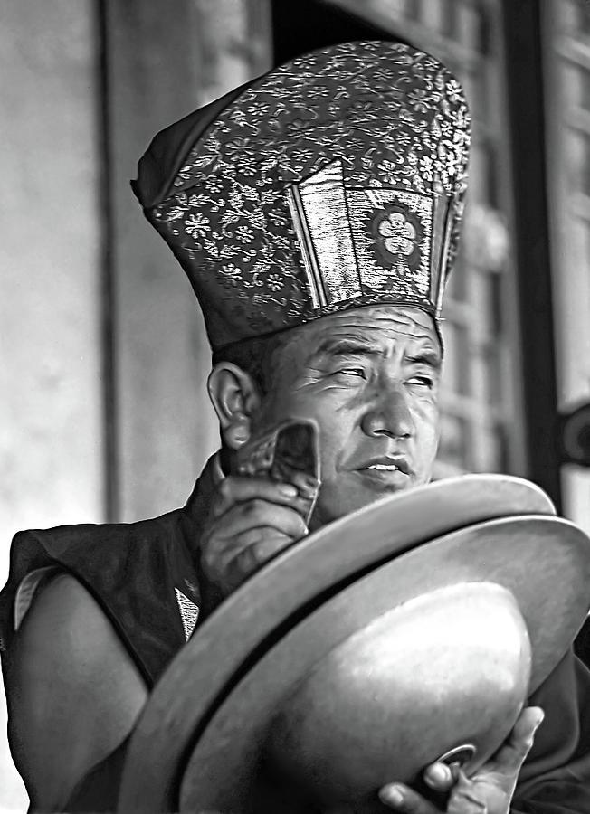 Buddhism Photograph - Musical Monk Bw by Steve Harrington