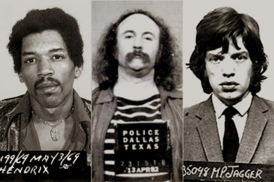 Jimi Hendrix Painting - Musical Mug Shots Three Legends Very Large Original Photo 2 Sepia by Tony Rubino