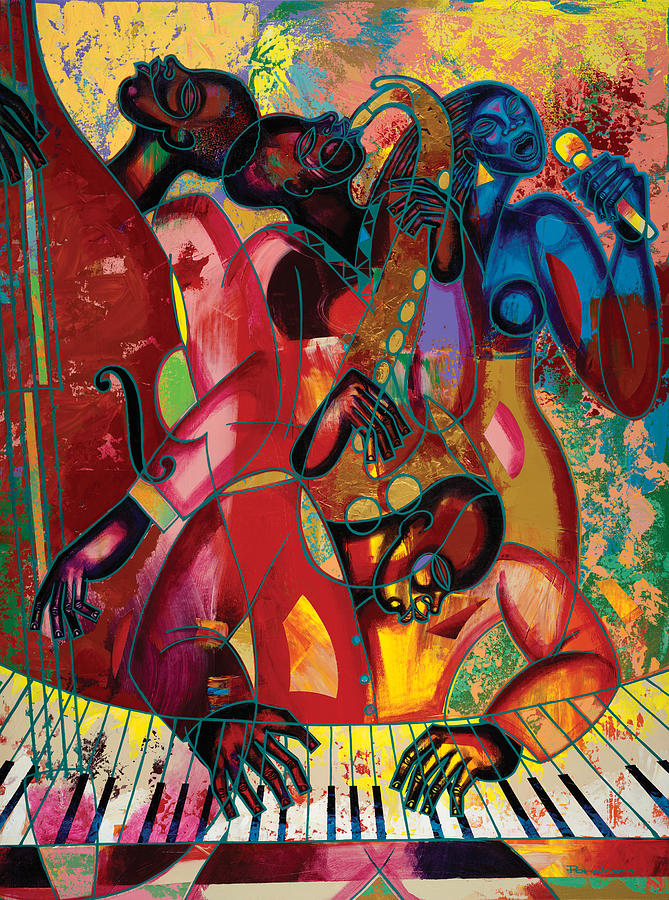 Figurative Painting - Musicfest by Larry Poncho Brown