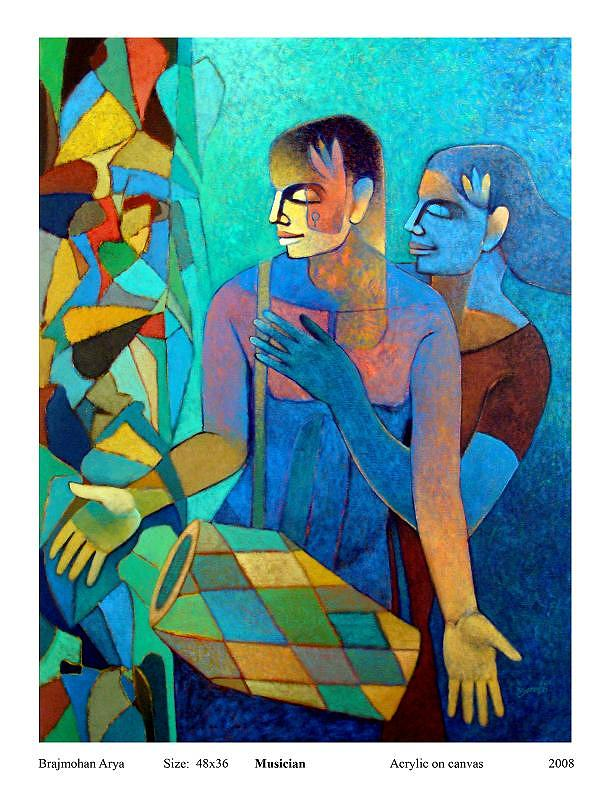 Musician Painting by Brajmohan Arya