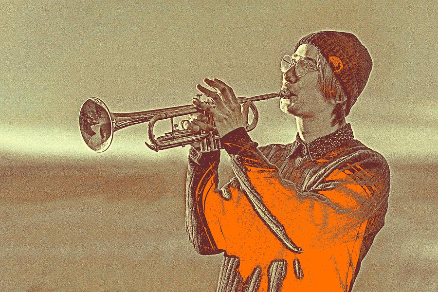 Man Painting - Musician Youth by Celestial Images