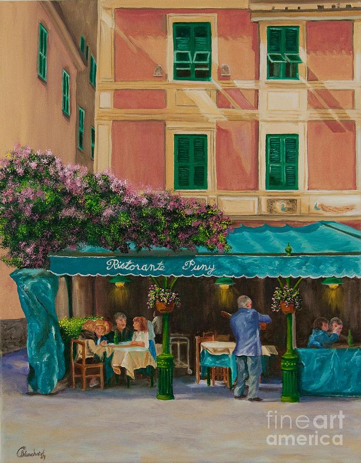 Portofino Italy Artist Painting - Musicians Stroll In Portofino by Charlotte Blanchard