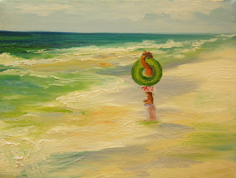 Oil Painting Painting - Musing The Waves by Jill Holt