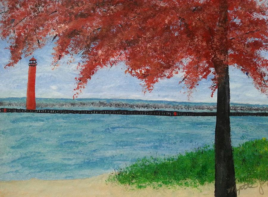 Terrific Muskegon Channel Lighthouse Fall By Myrtle Joy Download Free Architecture Designs Rallybritishbridgeorg