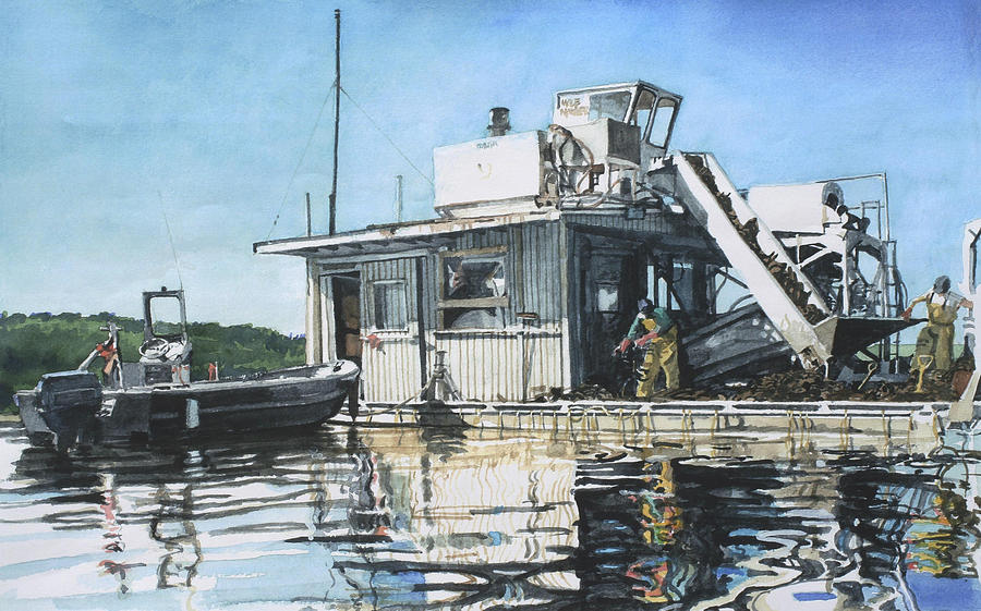 Motor Boat Painting - Mussel Harvest On Penn Cove by Perry Woodfin