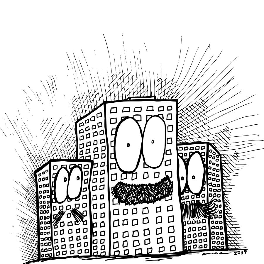 Drawing Drawing - Mustachio Buildings by Karl Addison