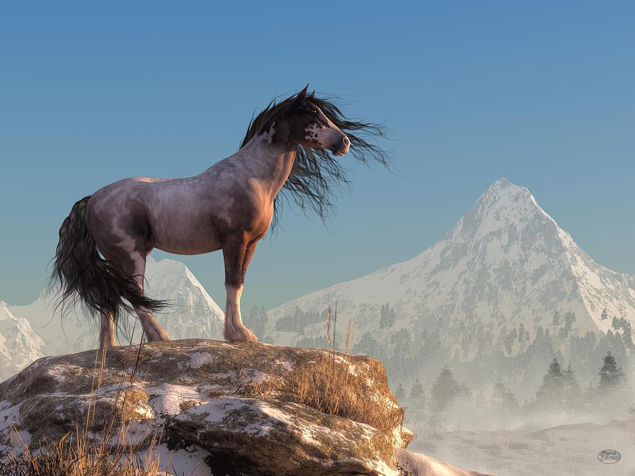 Wild Horse Digital Art - Mustang by Daniel Eskridge