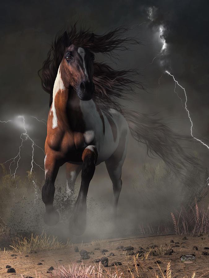 Horse Digital Art - Mustang Horse In A Storm by Daniel Eskridge