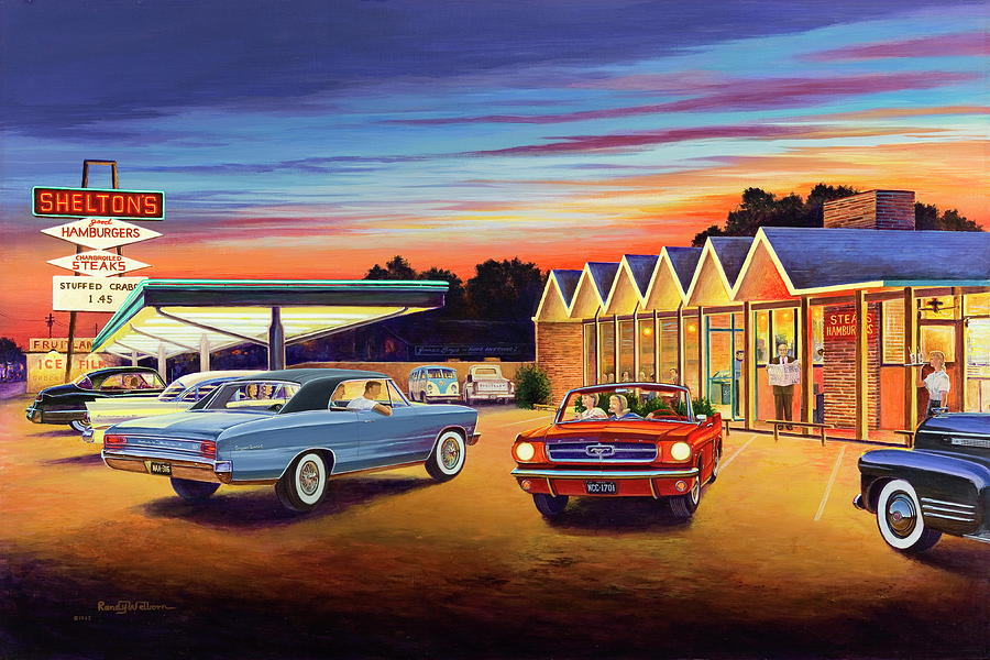 Mustang Painting - Mustang Sally - Sheltons Diner 2 by Randy Welborn