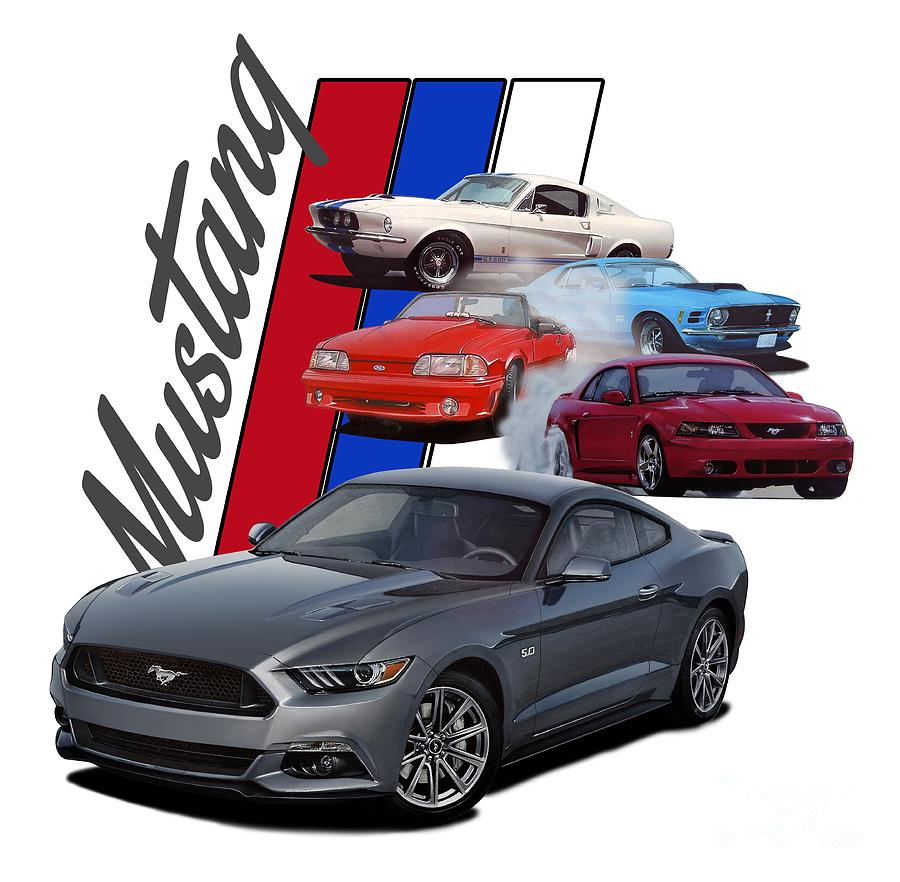 Mustang Through The Years Digital Art