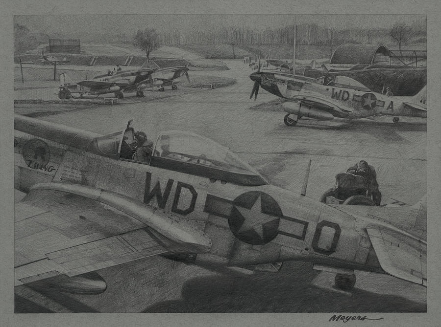 4th Fighter Group Drawing - Mustang Winter by Wade Meyers