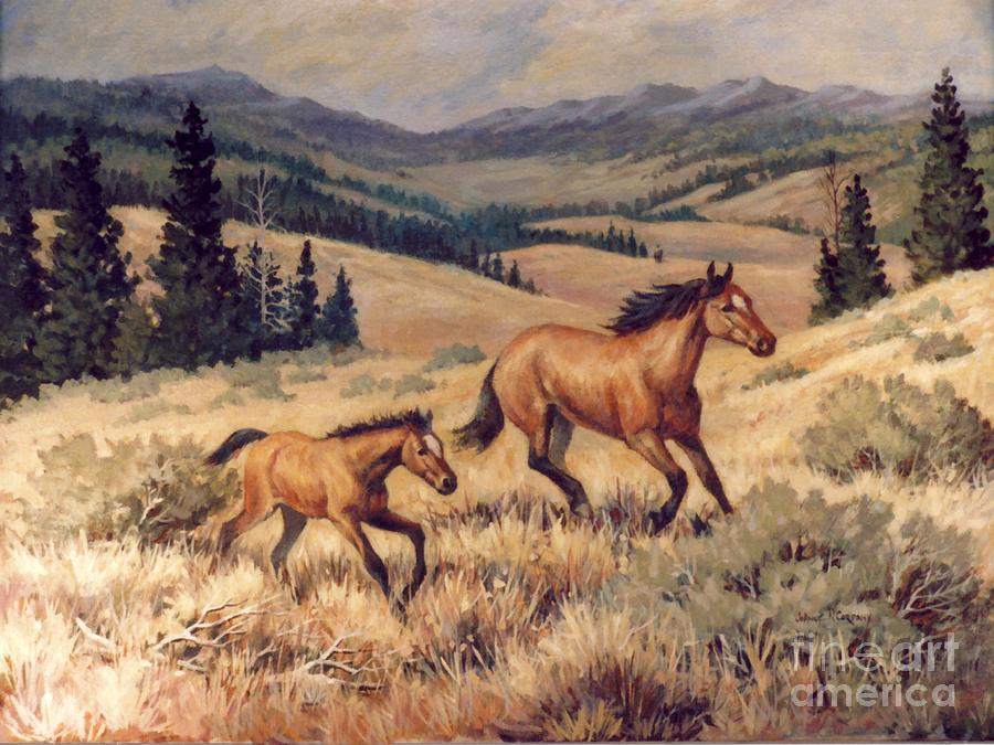 Mustang Painting - Mustangs      Mare And Foal Escaping by JoAnne Corpany