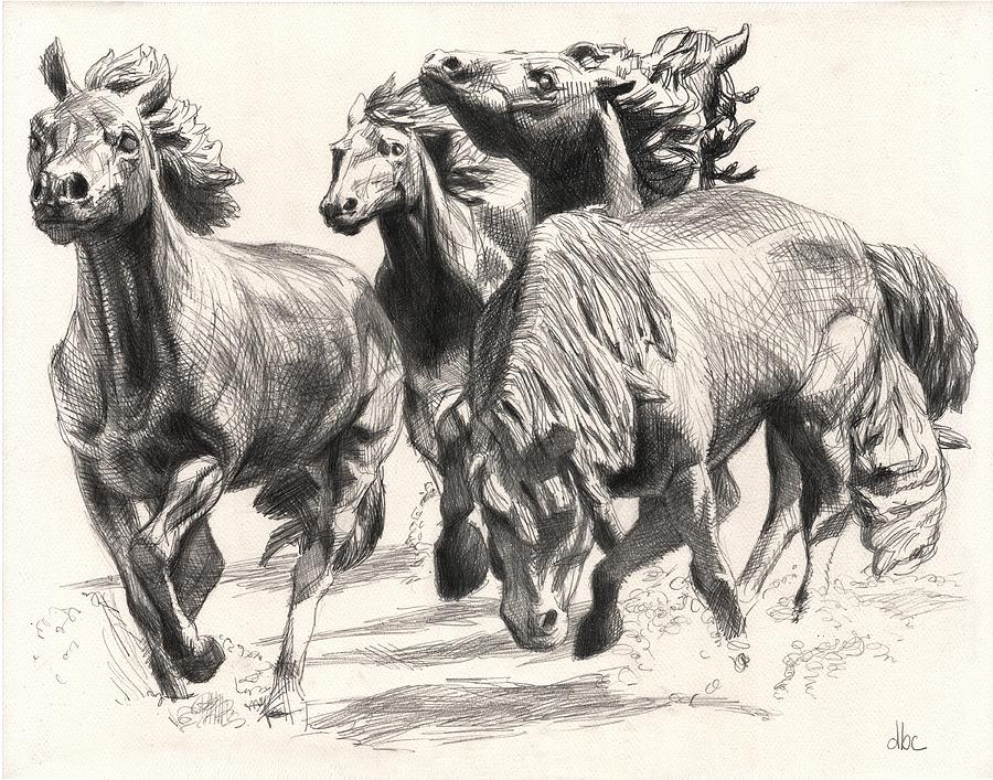 Mustangs Of Las Colinas Drawing by David Clemons