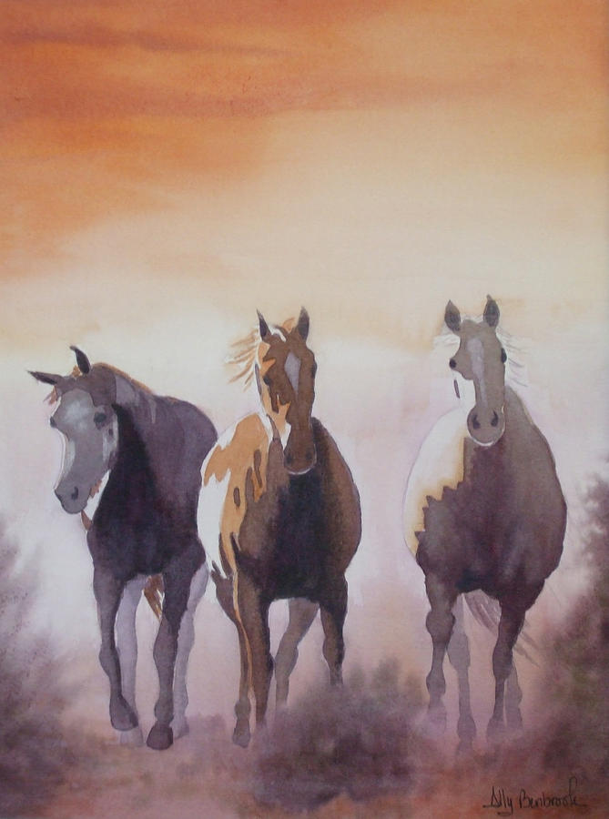 Horse Painting - Mustangs Out Of The Fire by Ally Benbrook