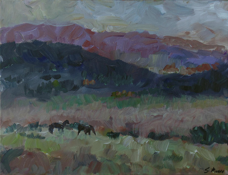 Lanscape Painting - Mustangs by Susan Moore