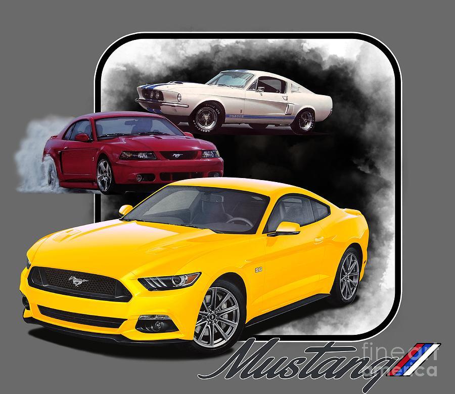 Mustangs Through Time Digital Art