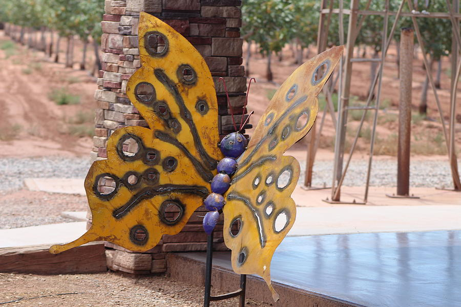 Sunflower Photograph - Mustard Yellow Metal Sculpture of Butterfly by Colleen Cornelius