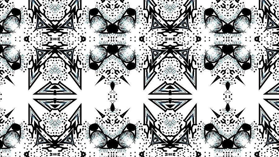 Black Digital Art - Mutant Snowflakes by Nancy Forever