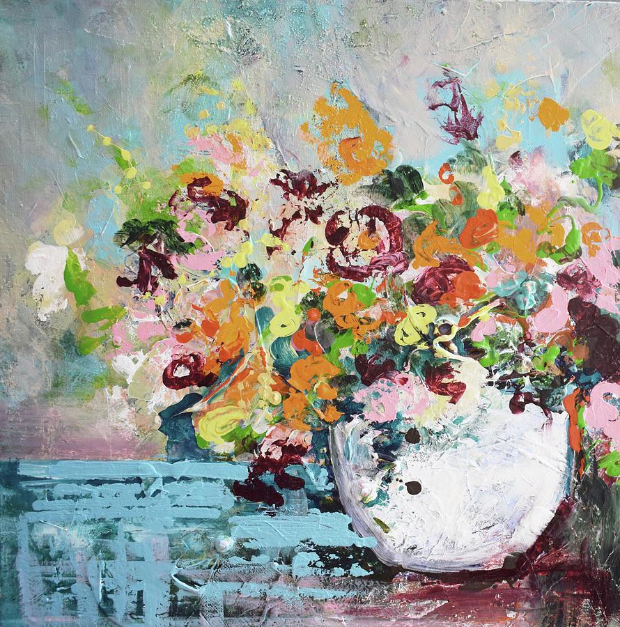 Muted Messy Garden Pot by Karen Ahuja