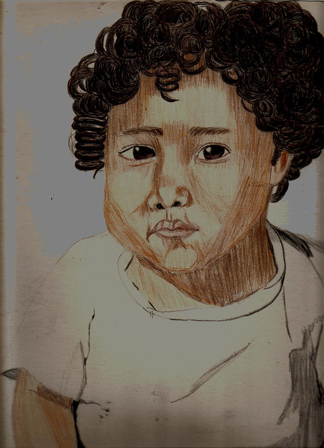 Portrait Drawing - My 1st Birthday by Thomasina Marks