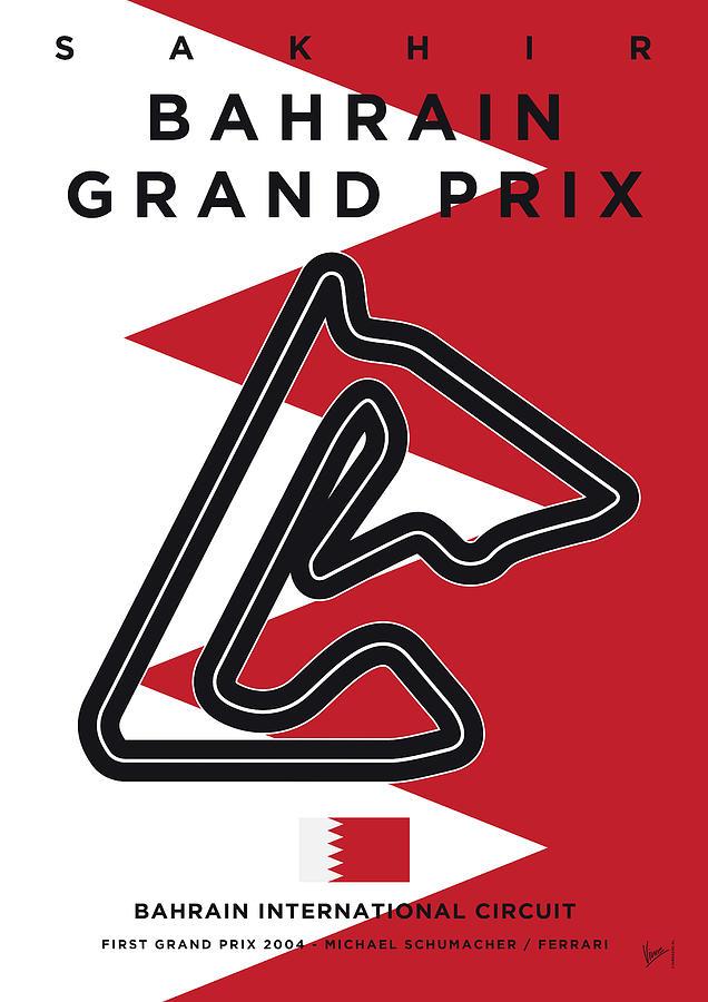 Limited Digital Art - My 2017 Bahrain Grand Prix Minimal Poster by Chungkong Art