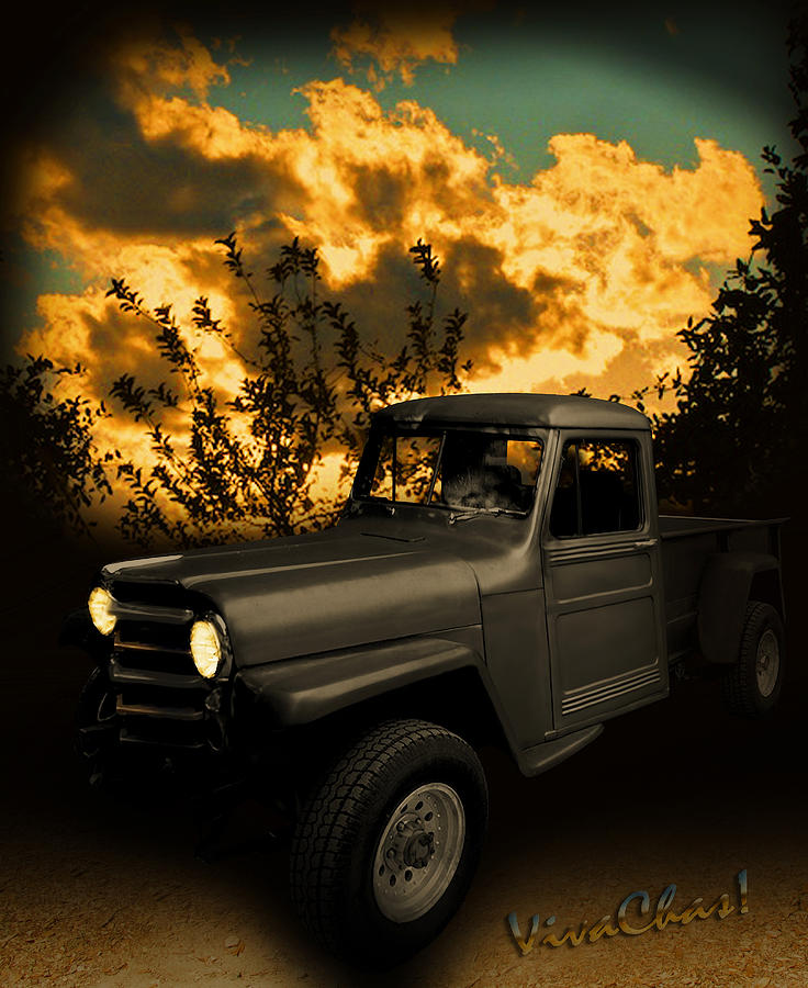 50 Photograph - My 51 Willys Jeep Pickup Truck At Sunset by Chas Sinklier