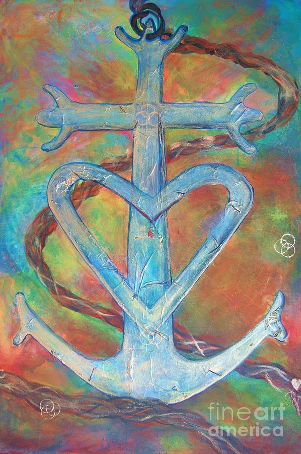 Cross Of Hope Painting - My Anchor by Deb Magelssen