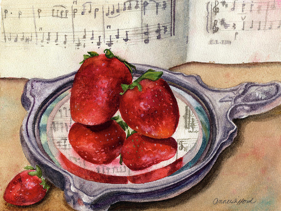 Strawberry Painting Painting - My Antique Mirror by Anne Gifford